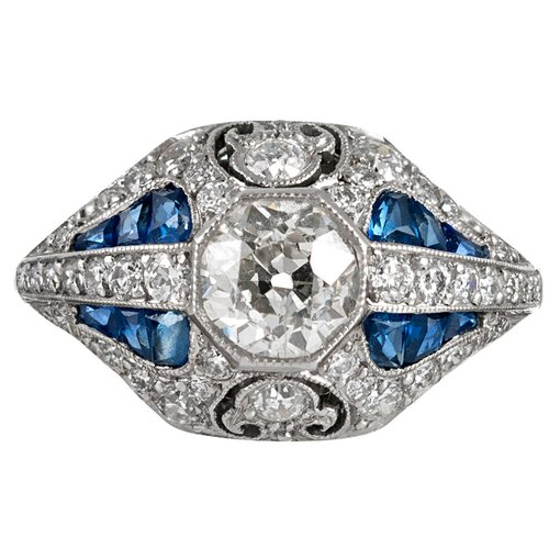 Hand Made Art Deco Style .93 Carat Diamond & Sapphire Ring