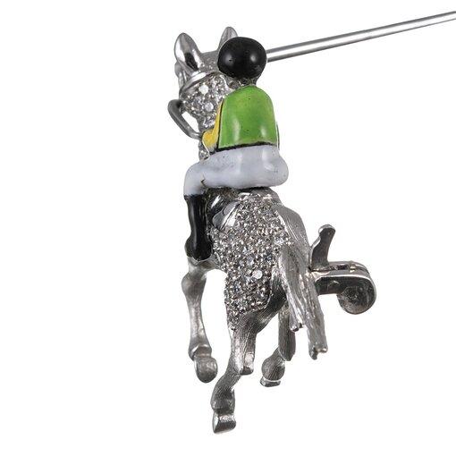 Enamel & Diamond Jockey Lapel Pin