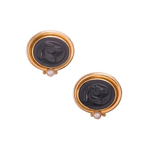 Carved Onyx Horse Portrait Earrings, signed Elizabeth Locke