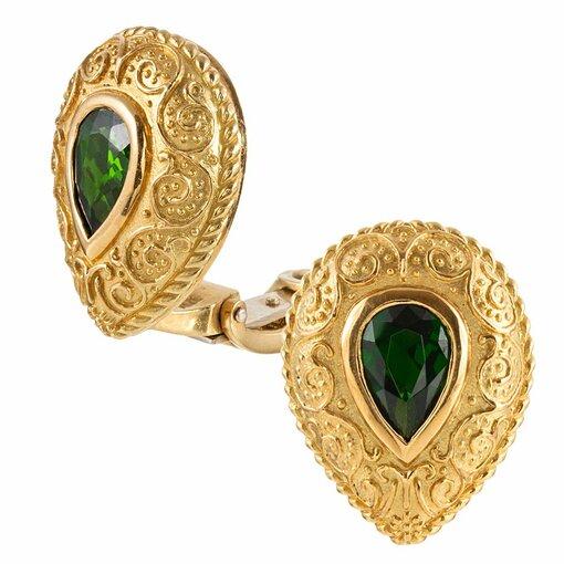 Pear-Shaped Tsavorite Garnet Earrings, signed Cynthia Bach