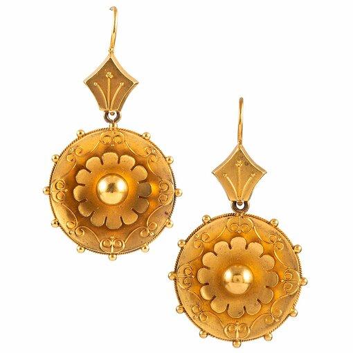 Victorian Golden Medallion Earrings