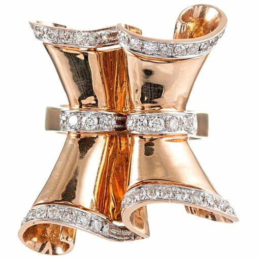 1940s Retro Swirl Ring with Diamonds