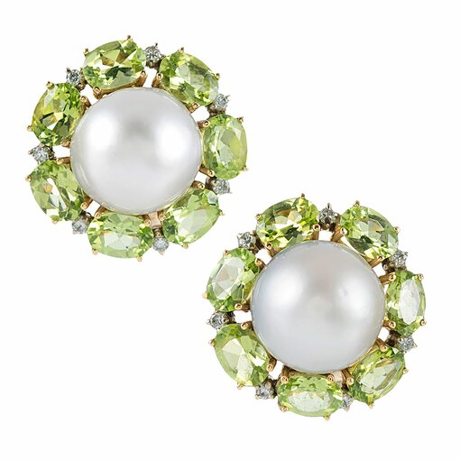 "Pearl, Peridot & Diamond Cluster Earrings, signed ""Maz"""