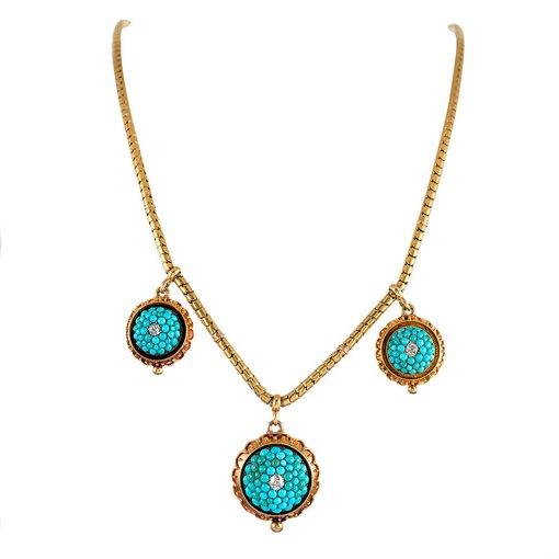 Victorian Turquoise  Diamond Necklace