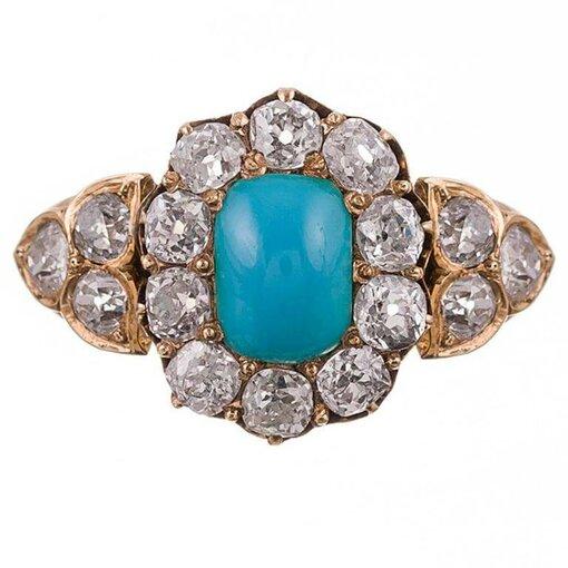 Victorian Turquoise & Old European Cut Diamond