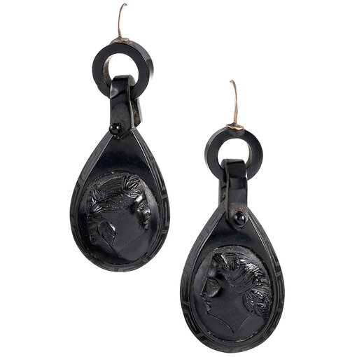 Victorian Carved Jet Cameo Profile Earrings