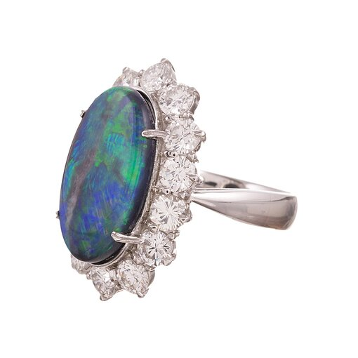 8.74 Carat Oval Opal and Diamond Cluster Ring
