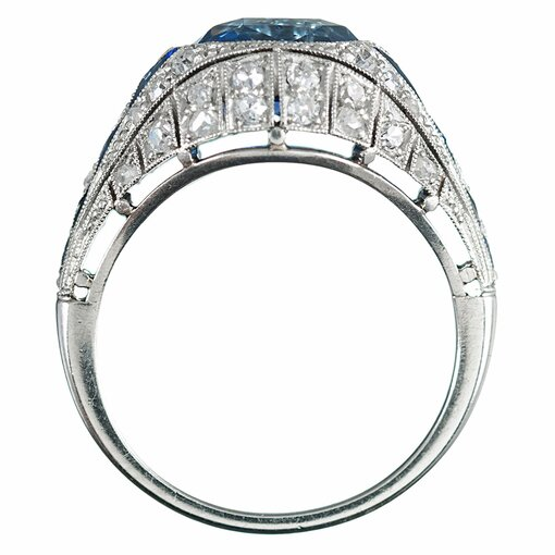 3.22 Carat No Heat Ceylon Sapphire & Diamond Ring