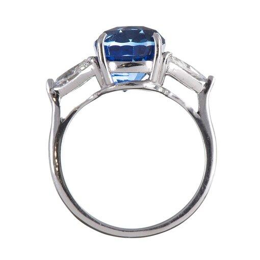 7.02 Carat Oval Sapphire Trillion Diamond Platinum Ring