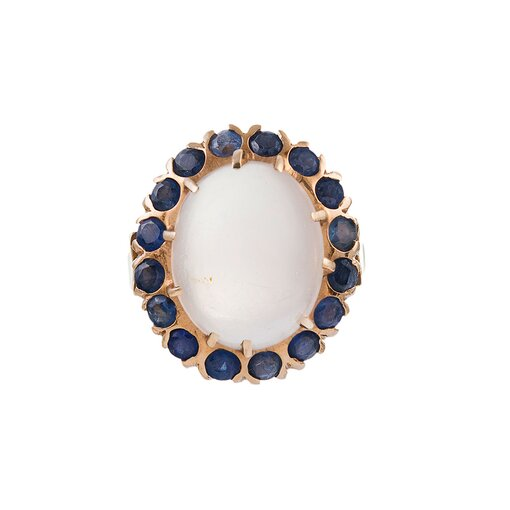 Cabochon Moonstone & Sapphire Cluster Ring