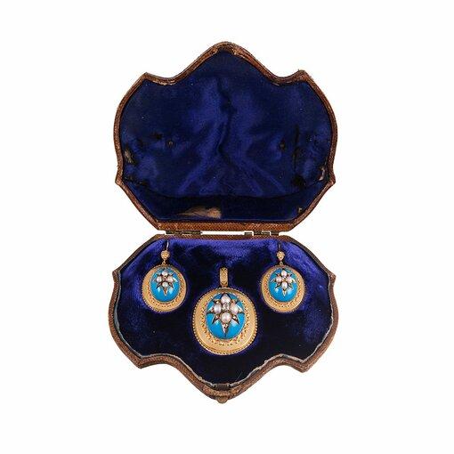 Victorian Turquoise Enamel, Pearl & Diamond Locket Pendant & Earrings Suite in Original Box