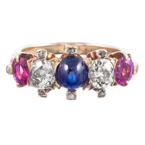 "Victorian ""Americana"" Gemstone Ring"