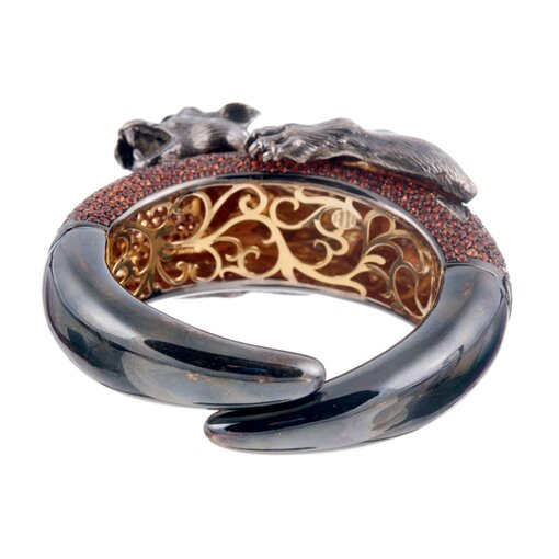"BOLD ""Sabbadini"" Hand-Textured Bangle with Orange Sapphires"