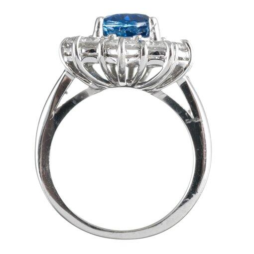 Sri Lanka No Heat 3.85 Carat Sapphire & Diamond Cluster Ring