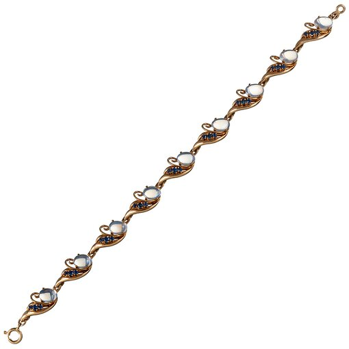 Retro Sapphire & Moonstone Swirl Bracelet