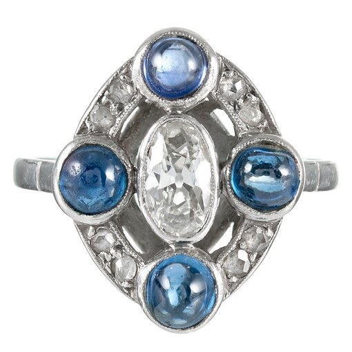 Art Deco Inspired Cabochon Sapphire & Diamond Ring
