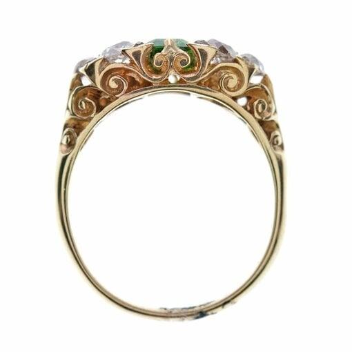 English Carved Tsavorite Garnet Diamond Gold Ring