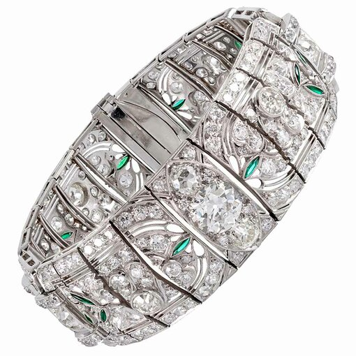 "18.90 Carat Art Deco Diamond Bracelet with Emerald ""Leaves"""