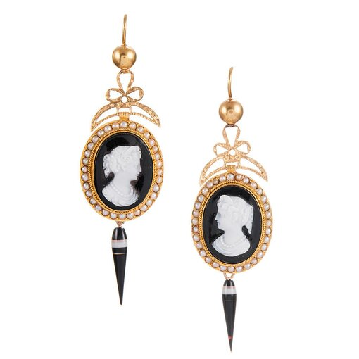 Cameo & Banded Agate Antique Victorian Earrings