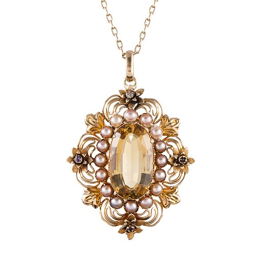 Victorian Citrine Pink Pearls Gold Pendant