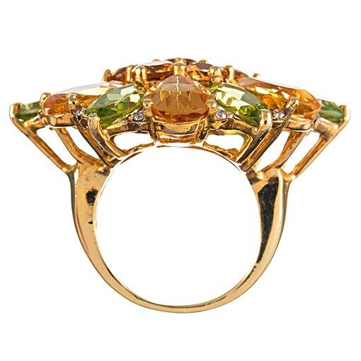 Mixed Cut Peridot, Citrine & Diamond Flower Ring