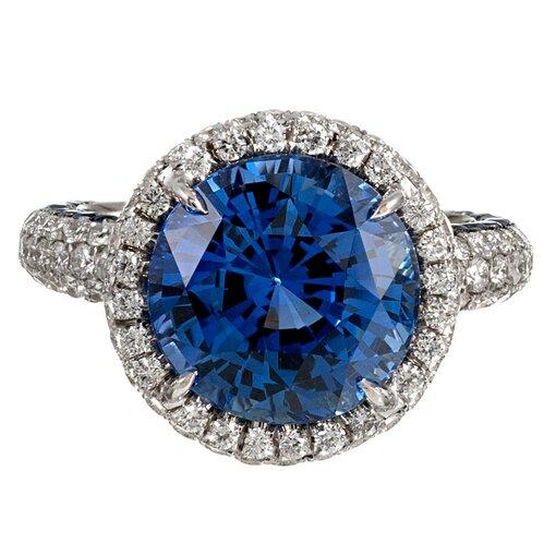 8.58 Carat Sapphire & Diamond Ring, signed Lugano