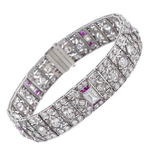 Fine Art Deco Platinum, Diamond and Ruby Bracelet