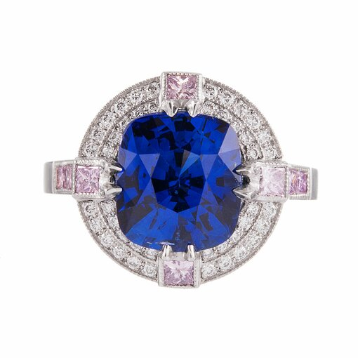 4.33 Carat Sapphire Pink and White Diamond Platinum Ring