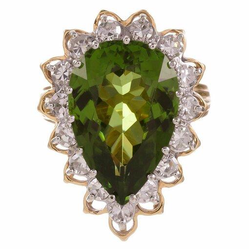 9.50 Carat Pear Shaped Peridot Diamond Cluster Ring