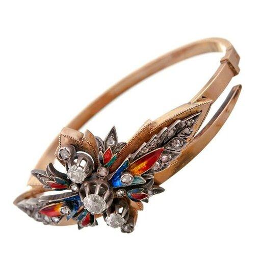 Victorian Rose Gold & Enamel Bracelet c1890