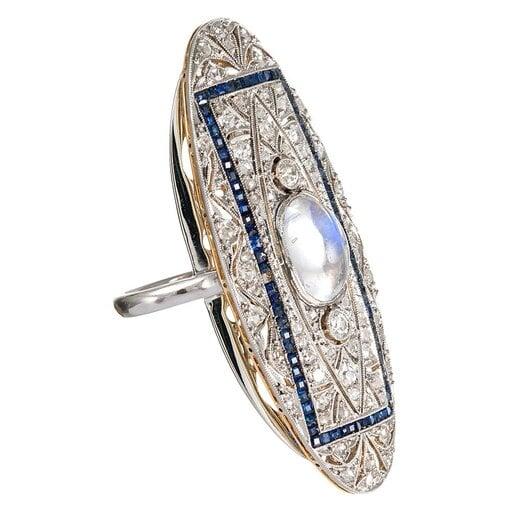 Edwardian Moonstone, Diamond and Sapphire Plaque Ring