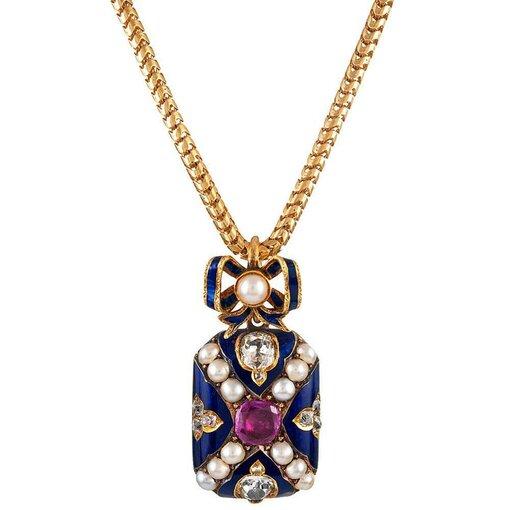 Victorian Ruby, Diamond, Pearl & Enamel Locket Pendant