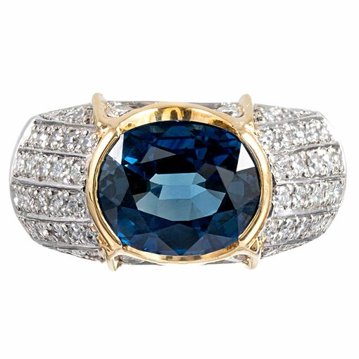 Contemporary 5.52 Carat Sapphire & Diamond Ring