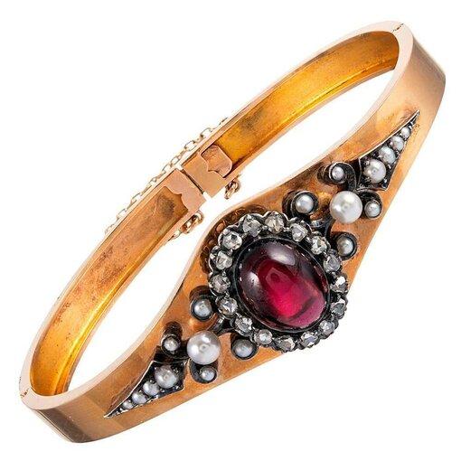 Victorian Bangle Bracelet with Cabochon Garnet , Diamonds & Pearls