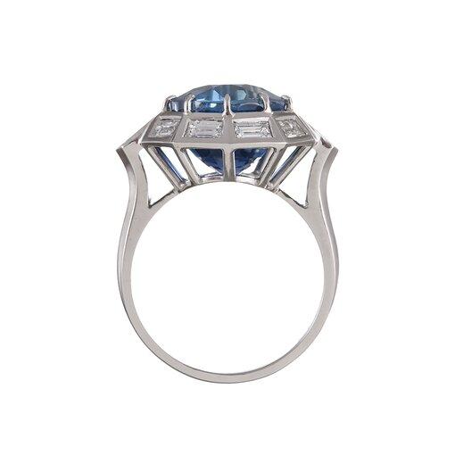 9.11 Carat Sapphire Baguette Diamond Platinum Ring