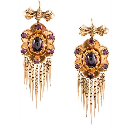Victorian Bearded Garnet Earrings in Original Box