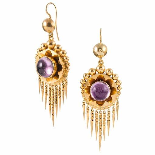 """Bearded"" Victorian Cabochon Amethyst Earrings & Pendant Suite"