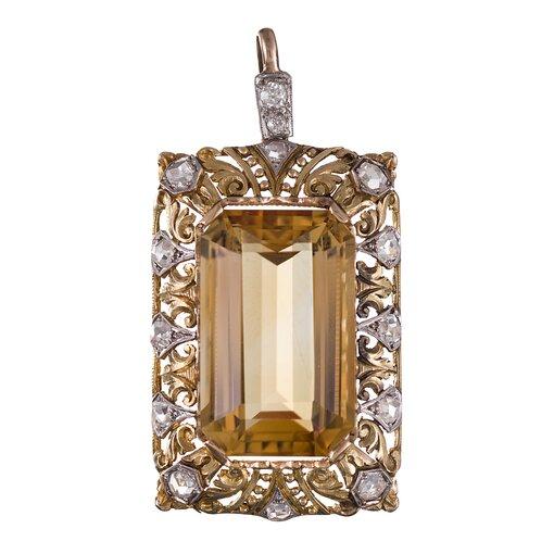 Italian Citrine Diamond Pendant