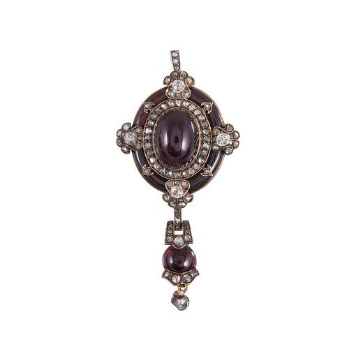 Antique Garnet & Diamond Pin/Pendant with Original Box