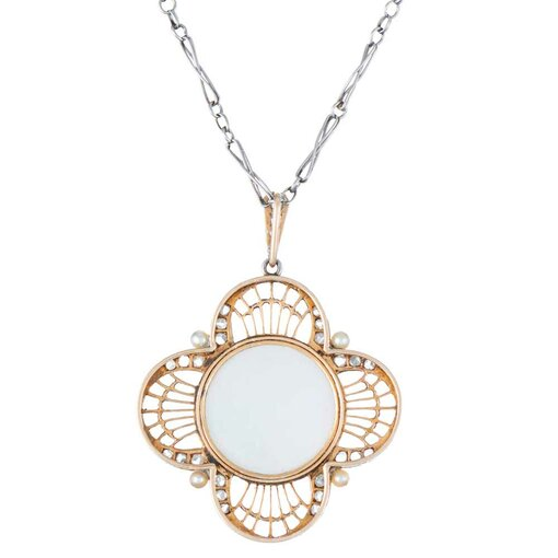 Platinum and Yellow Gold Mother-of-Pearl Madonna Pendant