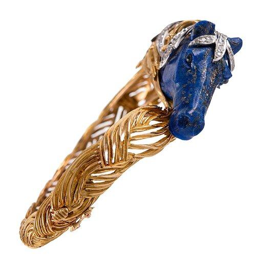 Carved Lapis Horse Head Bracelet