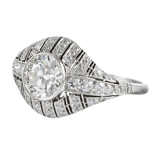 1.30 Carat Diamond Center Art Deco Style Ring