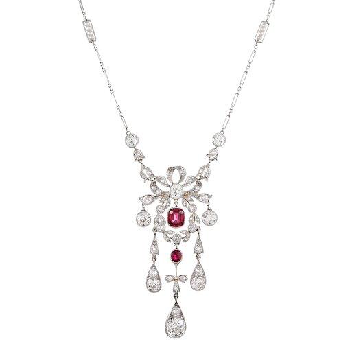 Edwardian Burma No Heat Ruby & Diamond Necklace