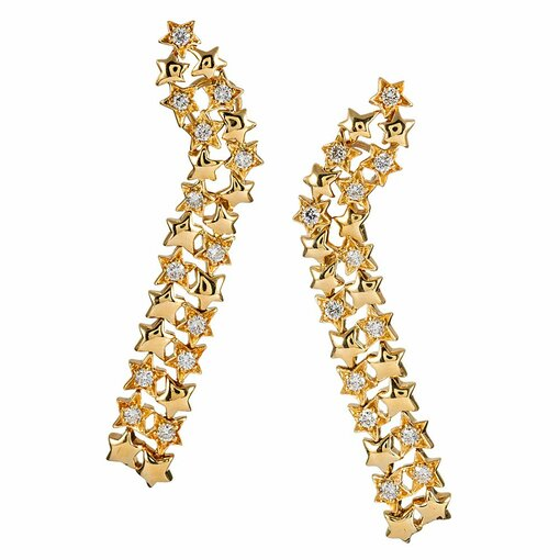Jose Hess Diamond Star Cascade Earrings