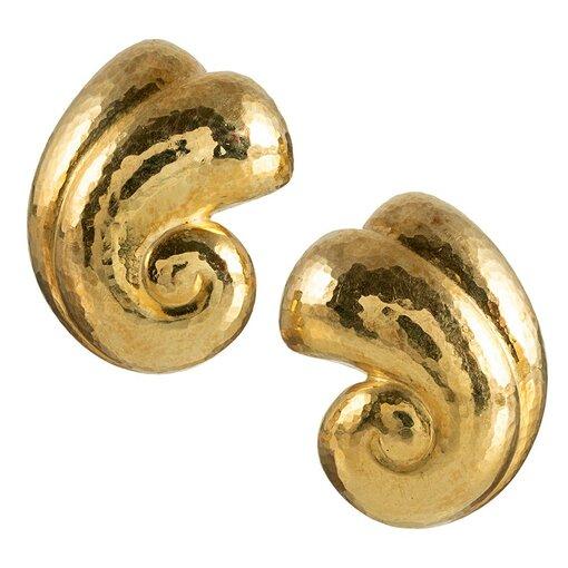 Scrolling Golden Earrings, Signed DeVroomen